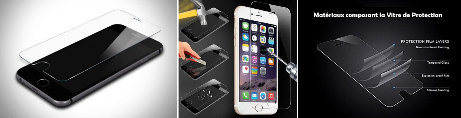 FILM DE PROTECTION ANTI CASSE ANTI RAYURES EN VERRE TREMPE POUR IPHONE 6